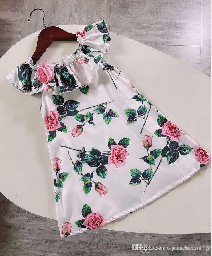 vestir 2020 vestido de algodón cuello de encaje niñas colmena magnífica impresión de Rose de la burbuja vestido de princesa de la manga nuevos estilos de verano