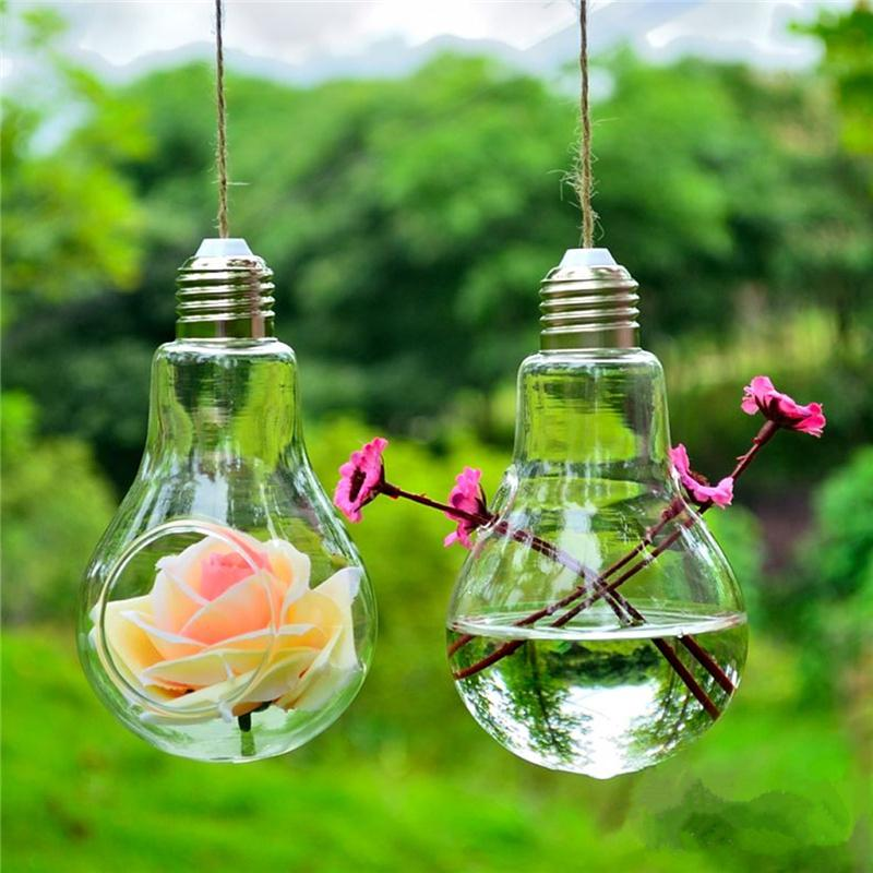 New Design Bulb Shape Clear Hanging Glass Plants Flower Vase Succulents Vase Hydroponic Container Party Decor Jewelry Ornaments