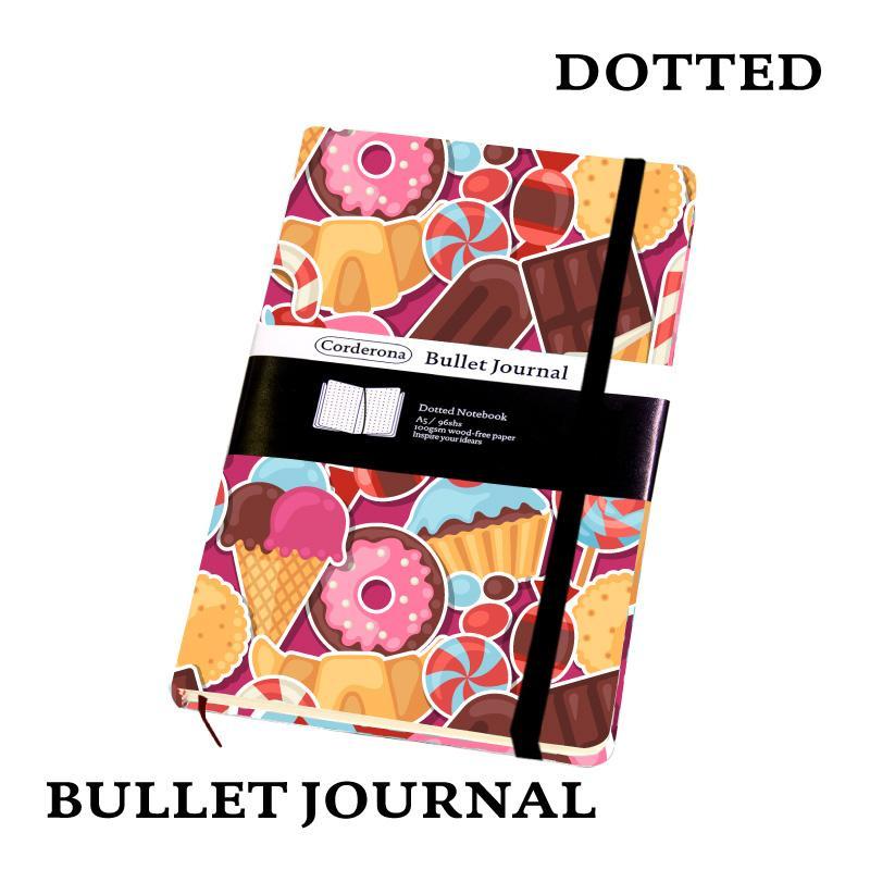 Doces Dot Grid Capa Dura A5 PU Bala Notebook Elastic Band Viagem Pontilhada Jornal Bujo Suporte Personalizar