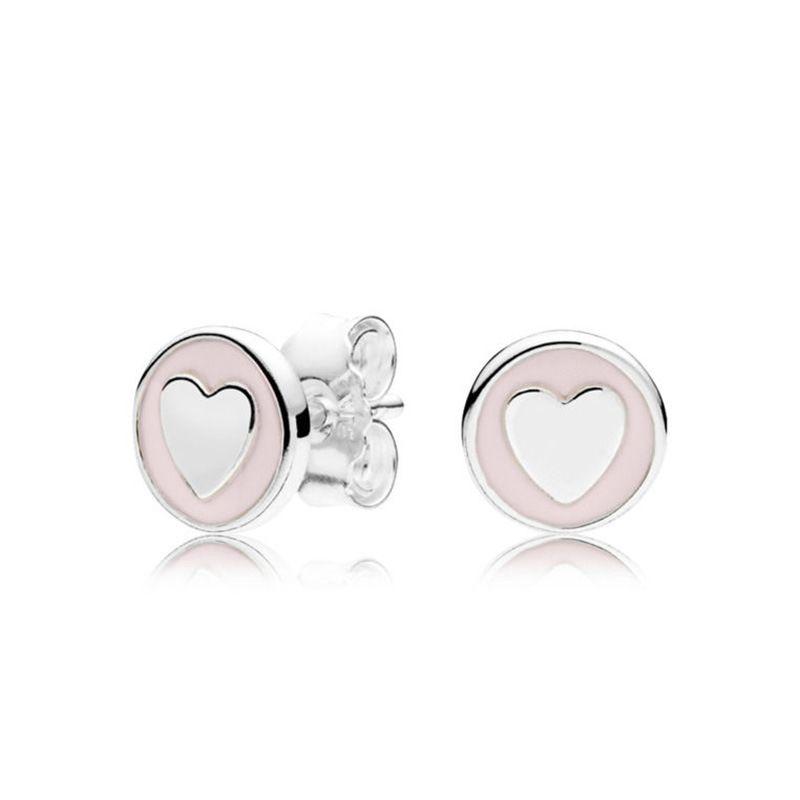 Rose et blanc coeur émail petit boucles d'oreilles mignonnes pour Pandora 925 Sterling Sterling Womens boucle d'oreille avec boîte cadeau original