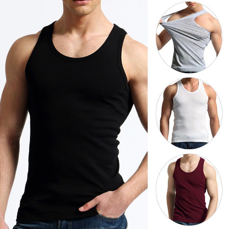 Estate dei nuovi uomini Vest Vest Fitness Elastico Casual O-collo traspirante Tipo H Tutte le canotte di cotone solido Canottiere maschili