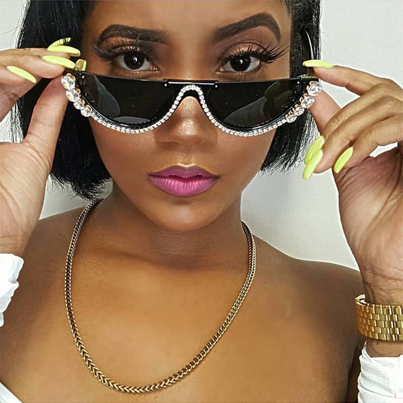 2019 cristal moda metade quadro sem aro gato olho óculos de sol Óculos de sol das mulheres dos óculos de sol sunglaasses strass desenhador marca