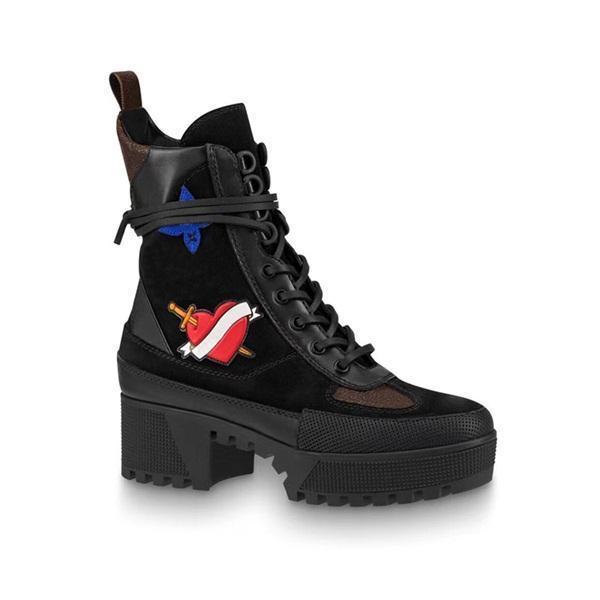 Dernières femmes bottes de designer Martin Desert Boot flamants roses Amour flèche médaille 100% cuir véritable grossier taille US5-11 chaussures d'hiver mj01