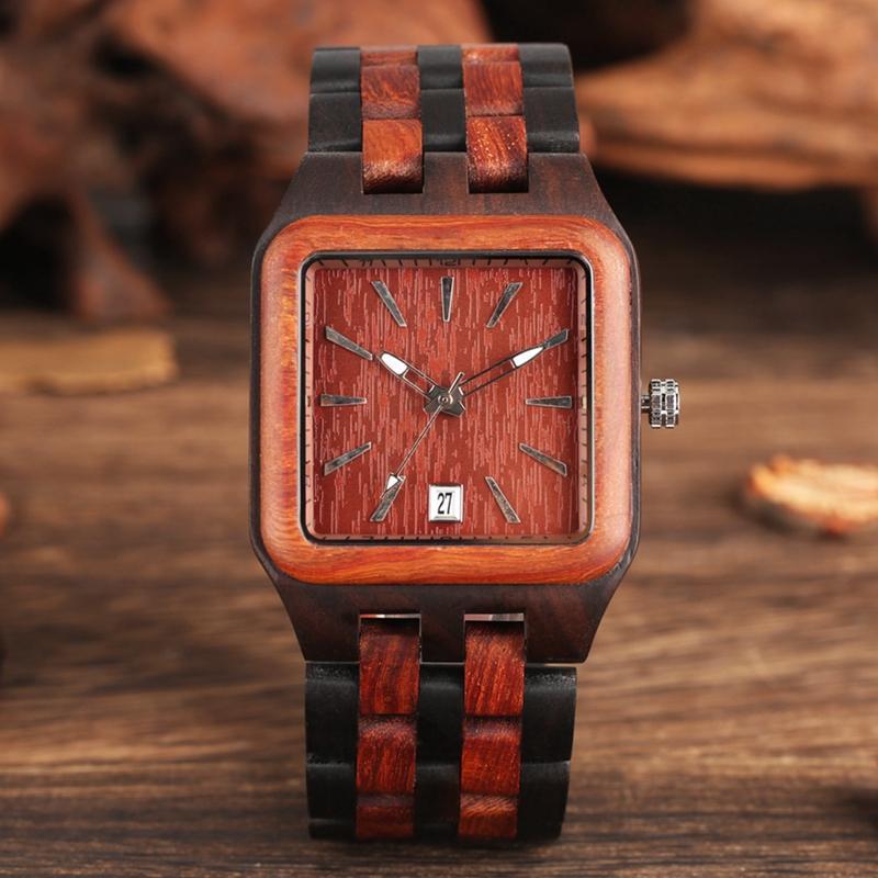 Red Sandalwood Wood Watch Mens Unique Rectangle Dial Light Clock Man Full Natural Woody Bracelet Calendar Date Quartz Wristwatch
