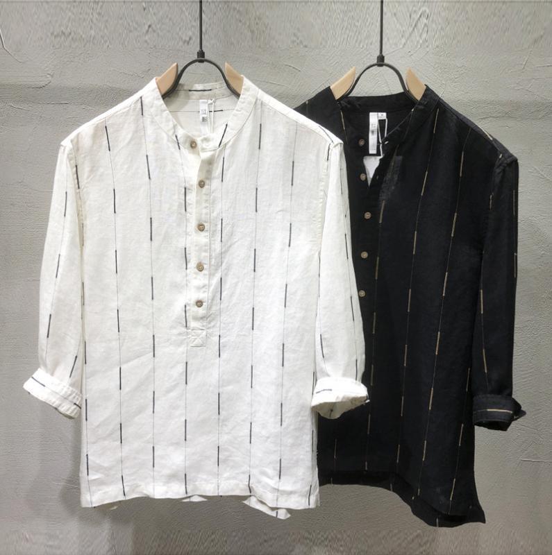 Collare stand 100% camicia di lino manica a righe uomini del Giappone di modo superiore Estate maschio Smart Casual camicia del pullover semplice