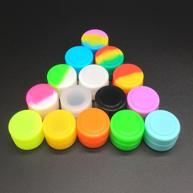 Silikonowe słoiki do przechowywania 2 ml Grade żywności do oleju woskowego Pojemnik krzemowy Non-Stick Słoik 20 sztuk / partia Mieszany Kolor