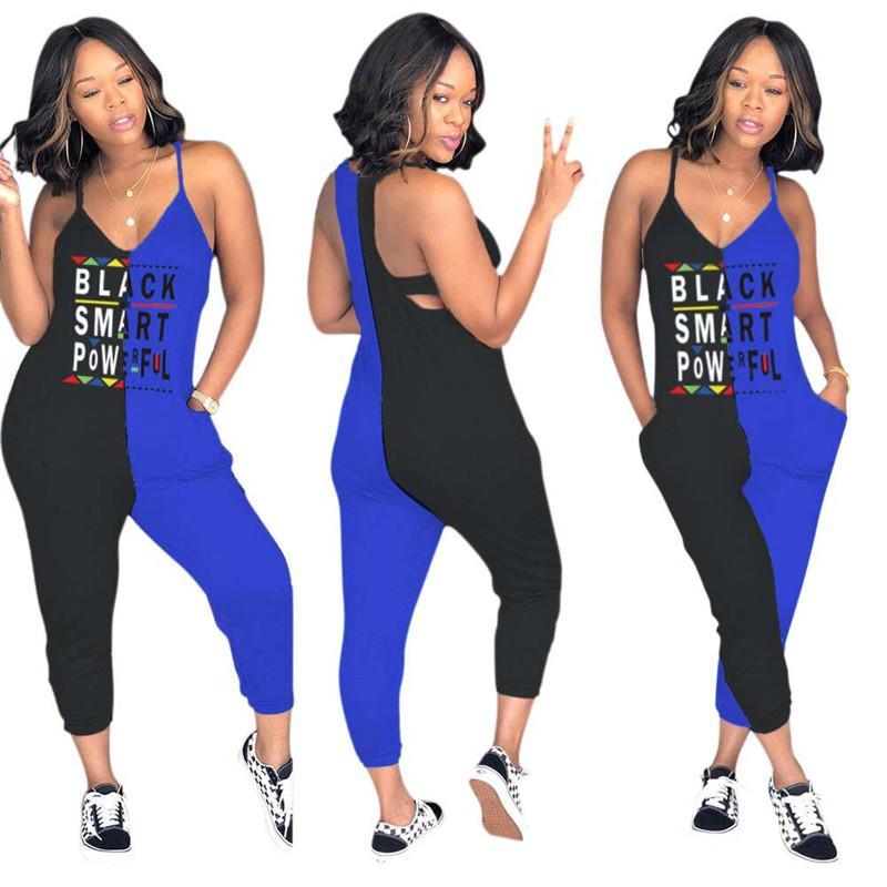 Женщины черный смарт письмо комбинезон лето рукавов Bodycon два цвета лоскутное комбинезон One Piece комбинезон Комбинезон спортивный костюм плюс размер 3XL