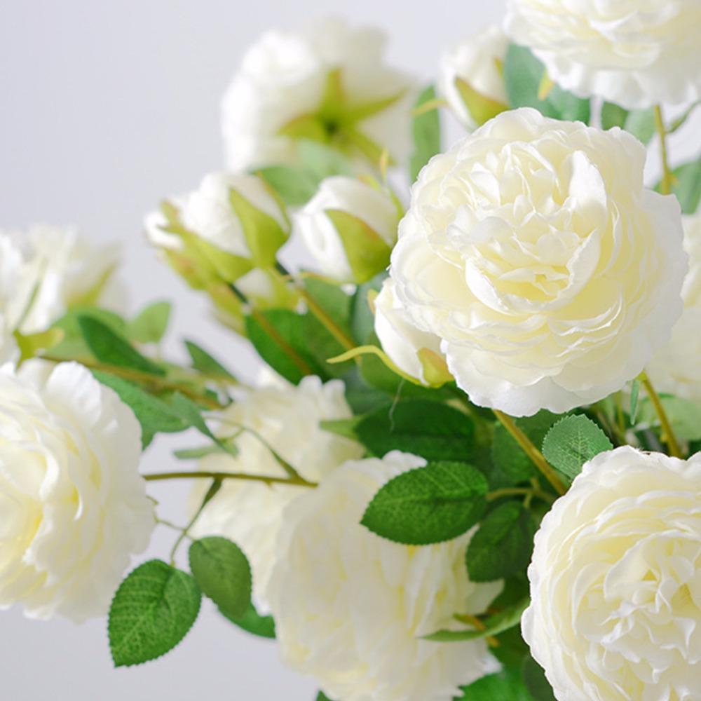 3 Köpfe Silk Pfingstrose-künstliche Blumen Zweig mit Blättern Imitation europäischer Peony Gefälschte Flores für Home Hotel Hochzeitsdeko A0445