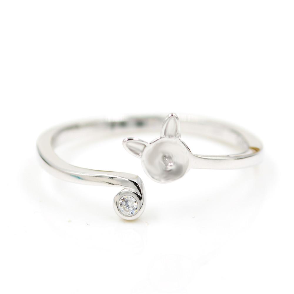 S925 стерлингового серебра кольцо крепления Cat стиль кольцо крепления для женщин ювелирные изделия из жемчуга diy бесплатная доставка регулируемый открытие кольцо крепления
