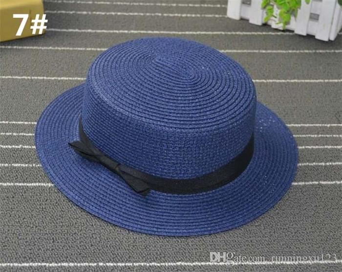 7a43482bc0b41 ... Man Women Straw Hat Summer Beach Hats Children And Adult Size Flat Top  Straw Hat Men
