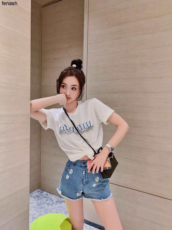 2020 camisas de moda de verano elegante diosa más hermosa del ajuste de la cintura pantalones cortos azules 040501