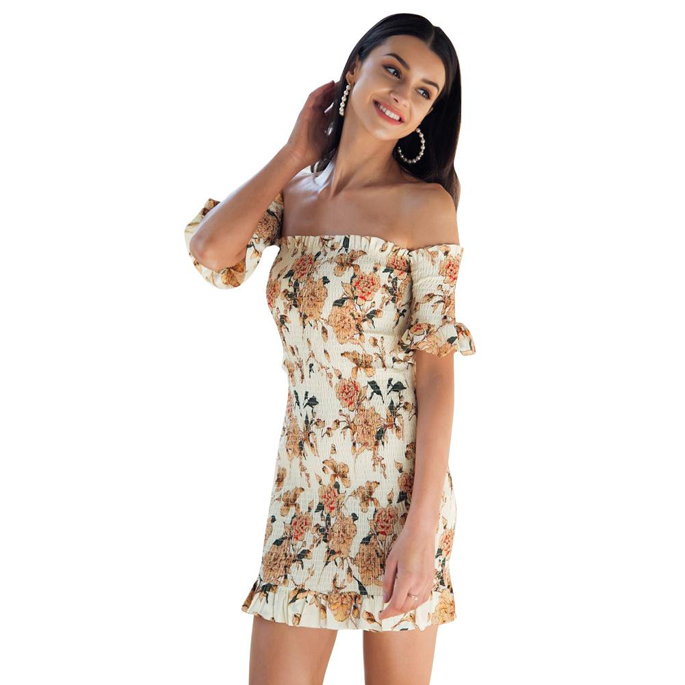 6d45afb33dcc Sexy Women Short Shirred Dress Off Shoulder Ruffles Bandage Bodycon Dress  2019 Summer New Mini Boho Beach Dress Yellow Vestidos