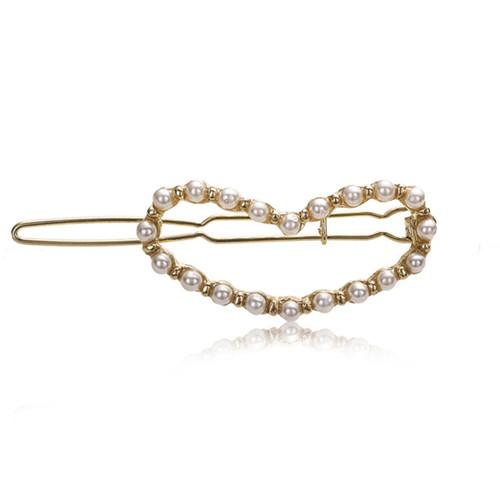 Wholesale 10 Pairs Trendy Gold Plated Love Heart Imitation Pearl Clamps for Women Geometric Hair Jewelry