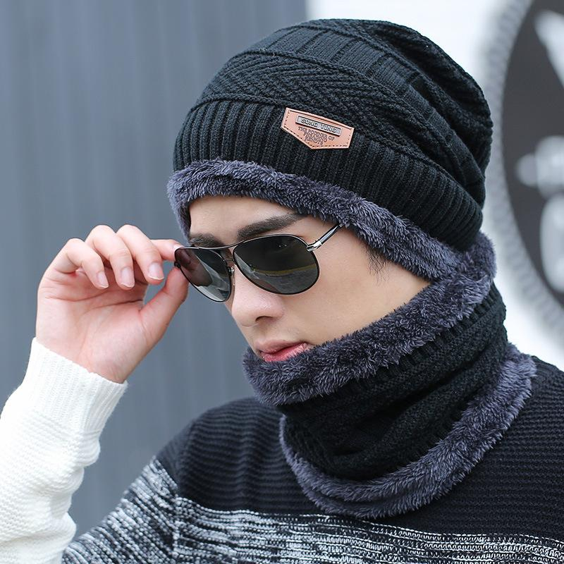 men's designer warm wool thickened knitted pullover cotton winter youth Baotou Hat