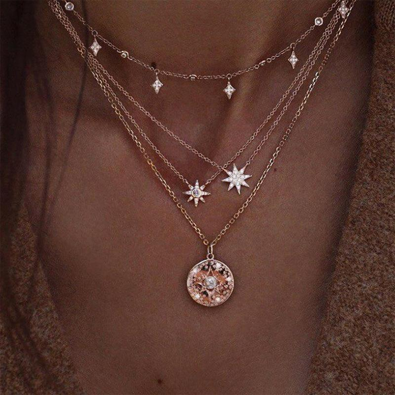 European and American Versatile Collars Retro Simple Stars And Moon Pendant Pearl Multi-layer Necklace Jewelry Wholesale