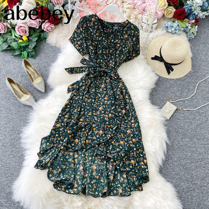 Boho Vintage 2020 çiçek baskı elbise yaz Parti Kadın plaj tatil düzensiz tunik elbise T200623 şifon uzun V Yaka bandaj havalandıran