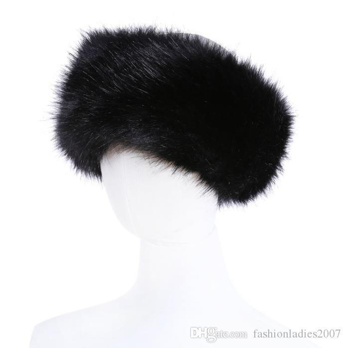 10 farben Womens Kunstpelz Stirnband Luxus Einstellbar Winter warm Schwarz Weiß Natur Mädchen Pelz Earwarmer Ohrenschützer Hüte Für Frauen