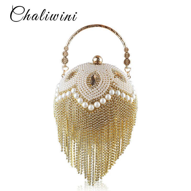 Tassel Fashion Women Pearl Beaded Crystal Party Evening Bag Bridal Wedding Round Ball Wrist Bag Round Clutch Purse Handbag Y19061301