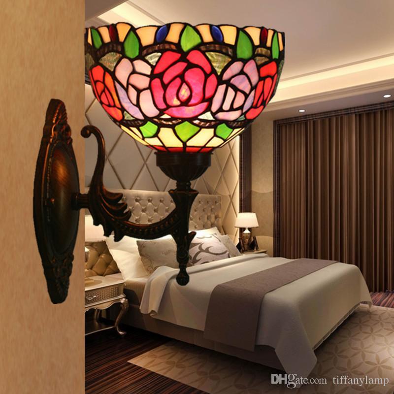 Vintage Retro Vidro colorido Flores Lâmpada de parede americano Tiffany Home Deco espelho do banheiro Gabinete Luminárias liga à base de arandela Luz