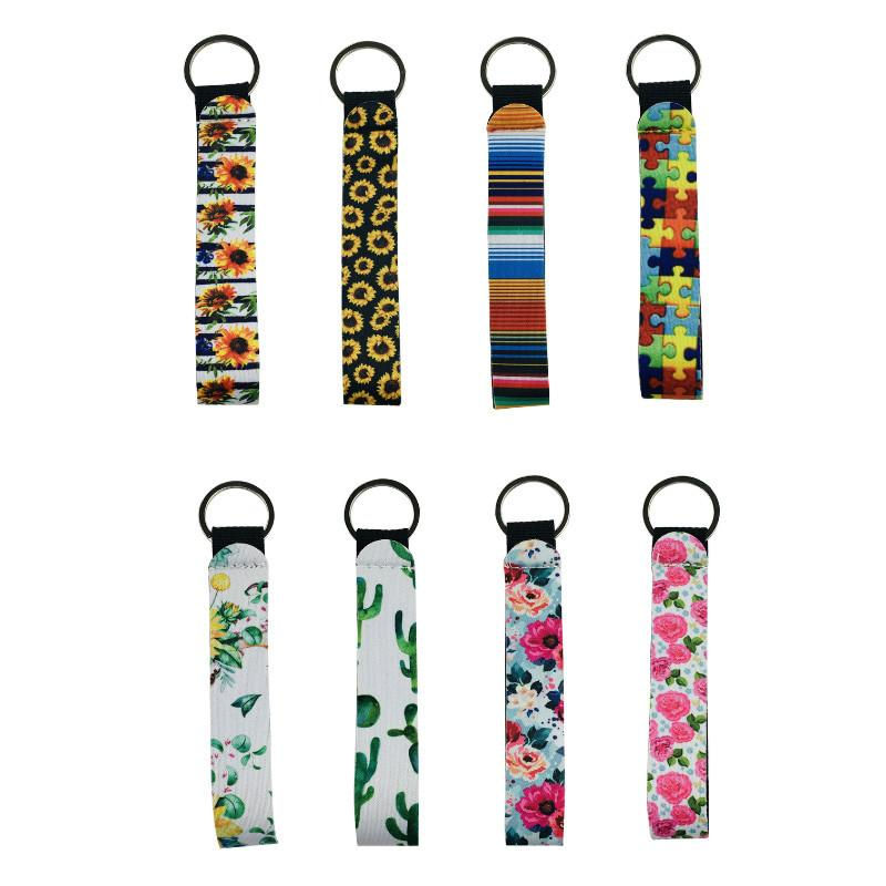 Neoprene Key Chain Bag Charmer With Metal Buckles In Front Wristlet Keychain for Wedding Favors Strip Leopard Lanyard Gift Giveaways AC1141