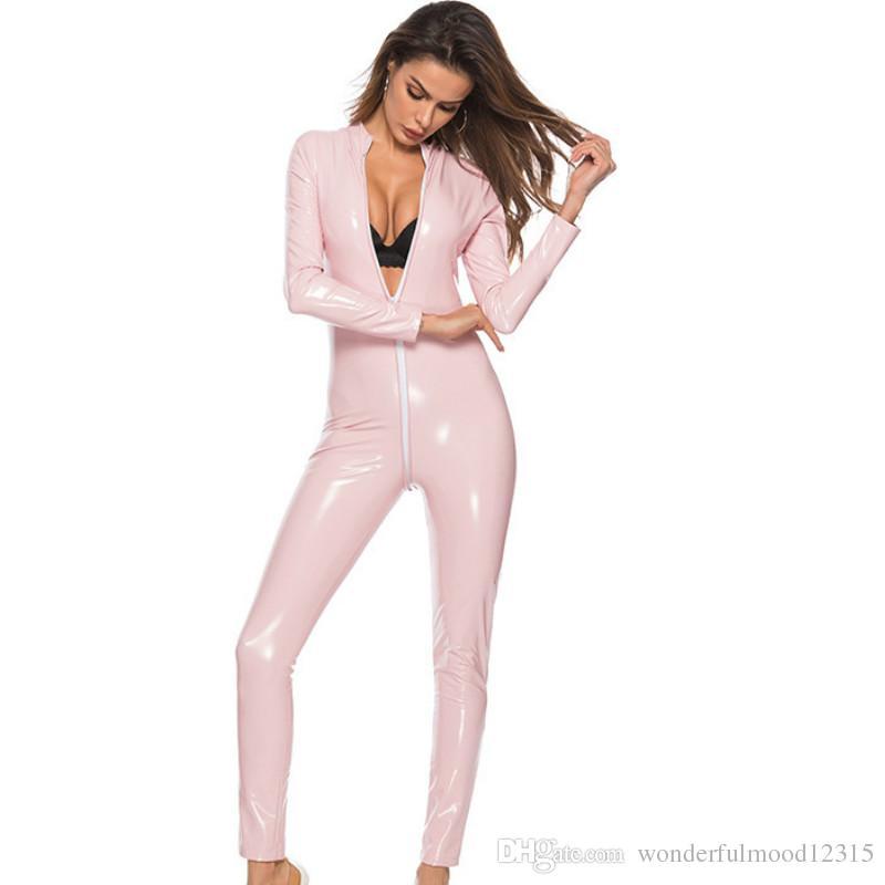 Patent Deri Kadınlar Seksi Fermuar Açık Kasık Tulum Catsuit Wetlook Catsuit Bodysuit Erotik Clubwear Artı Boyutu S-3XL