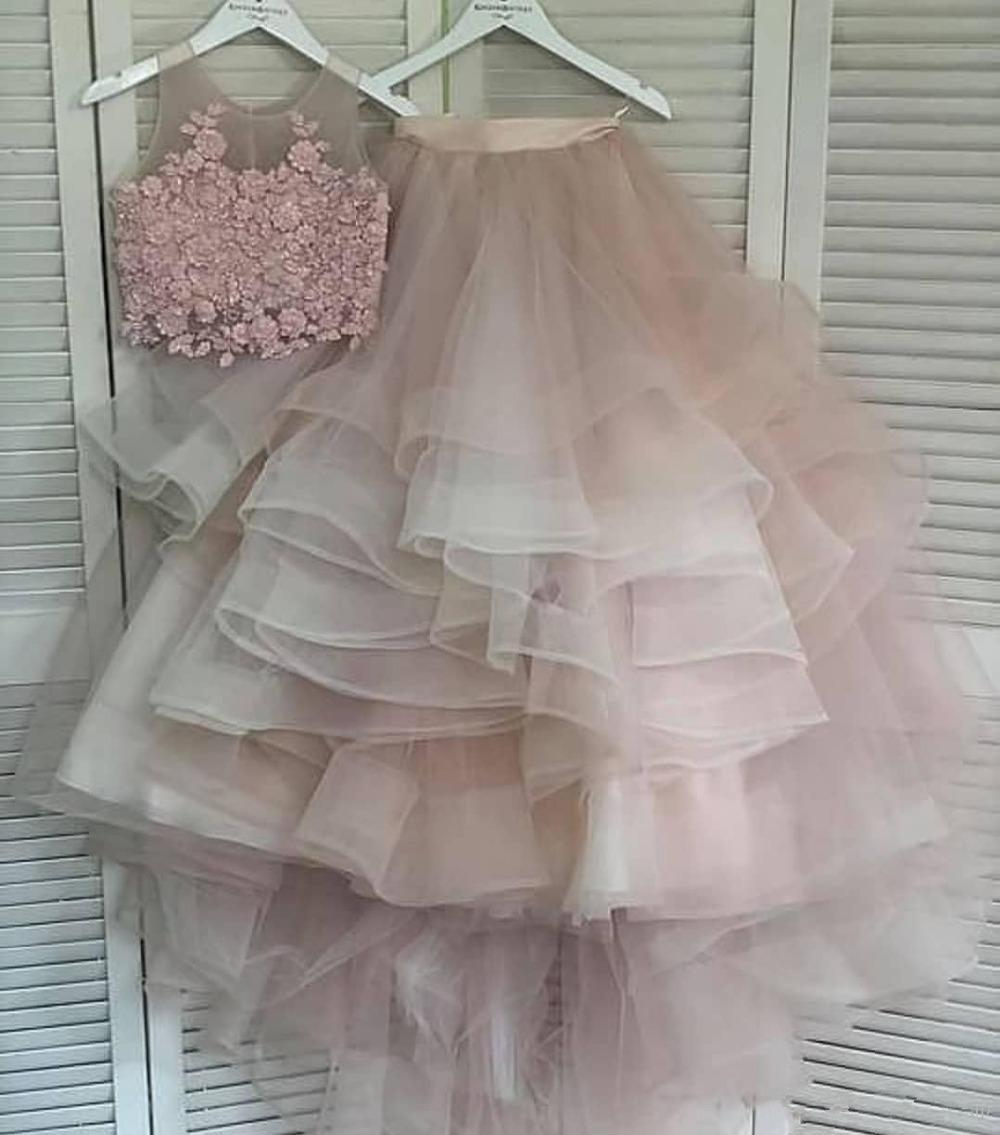 Lace frisada Vestidos Two Pieces Prom Vestidos A-line Cheap formal do partido Segundo recepção da dama de honra Vestidos