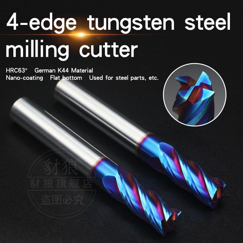 HRC63° Coating Tungsten steel milling cutter 4 edge for High hard material and steel Alloy milling cutter CNC Tool Cemented carbide endmill