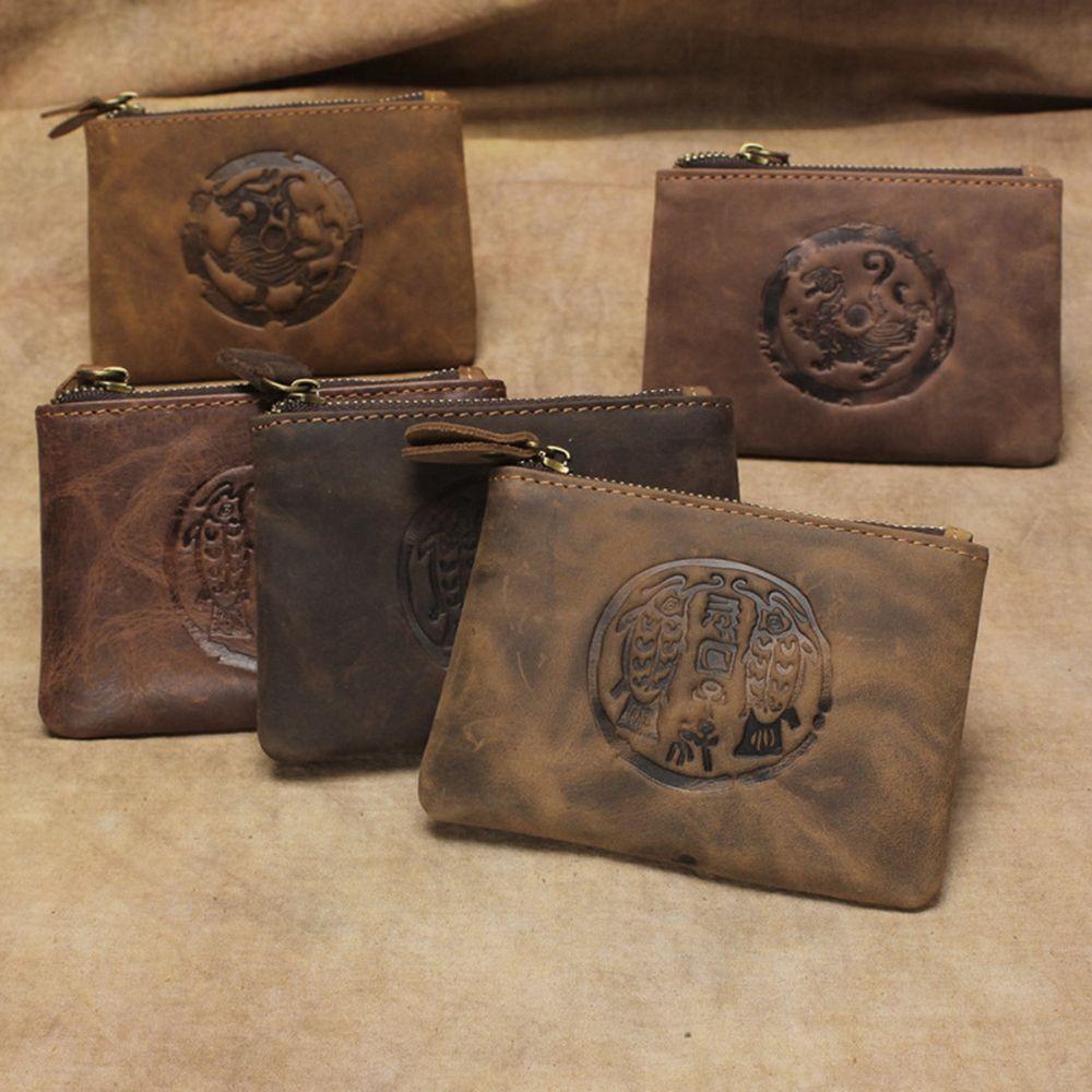 Натуральная кожа коровы на молнии кошелек женщины мужчины винтаж дракон тигр рыба форма молнии кошельки монеты унисекс коровьей деньги мешки