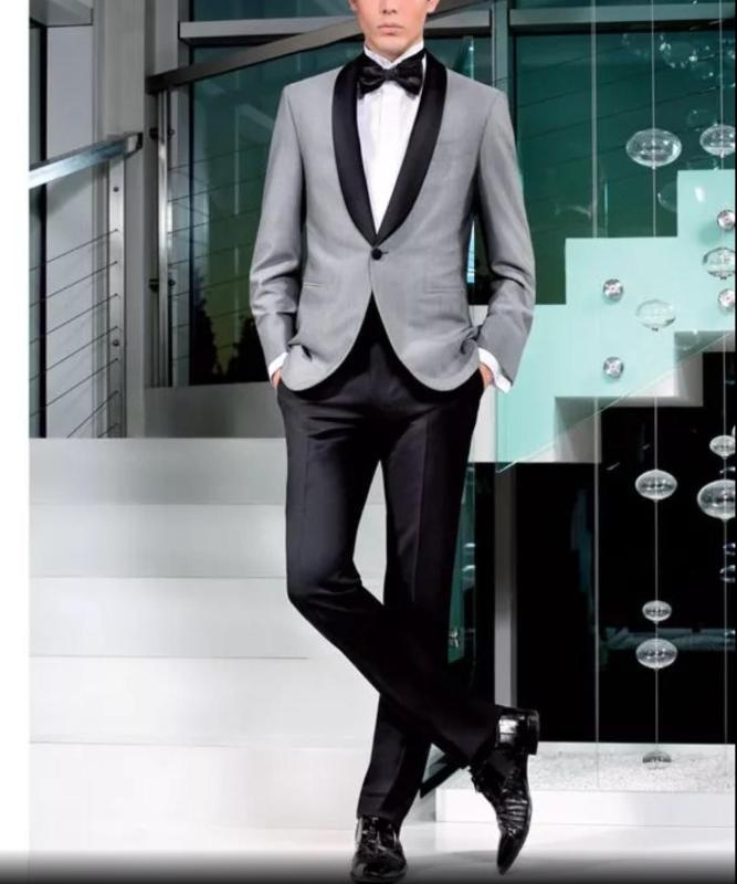 High Quality Men's Slim Fit 2pcs Wedding Suits Men Formal Tailored Made Groom Suits Grey Jacket With Black Pants Costume Homme