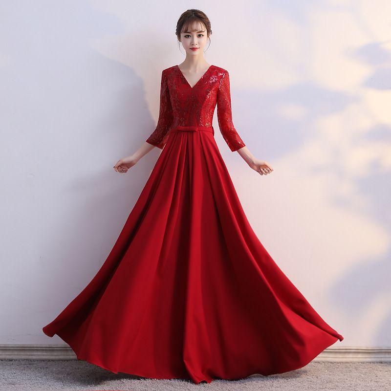 Özelleştirilmiş resmi elbise / bordo 3/4 kol bileği uzunluğu kaliteli fabrika direkt satış Modern payetler geri fermuar balo elbiseler Kanat kırmızı