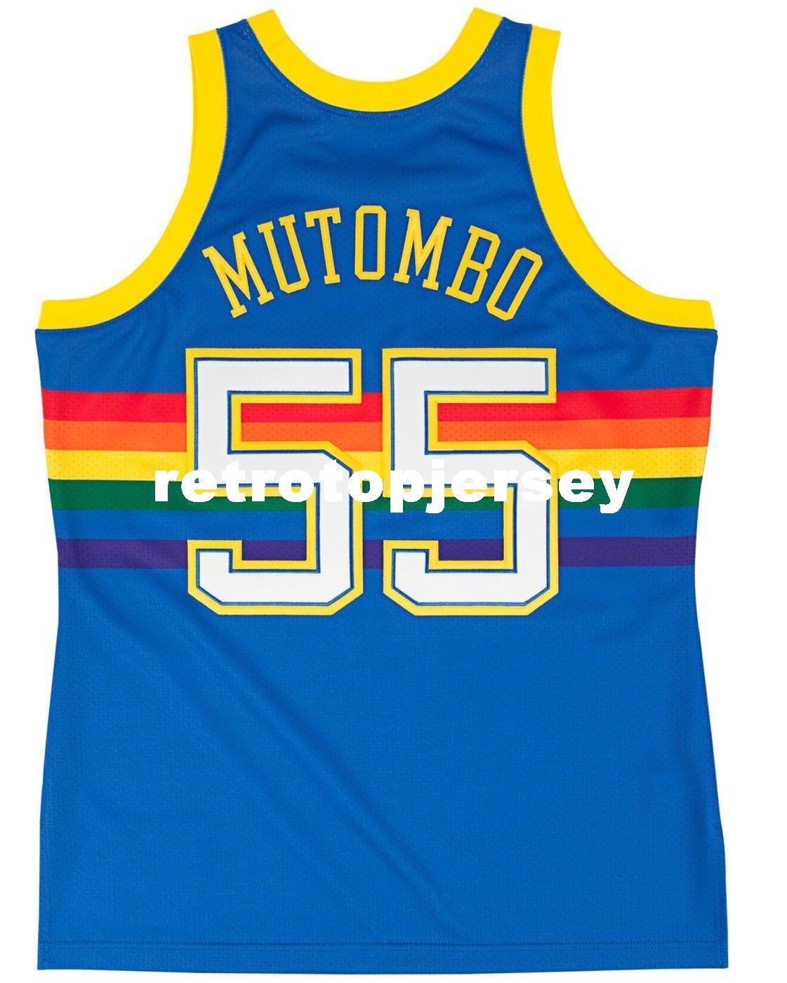 Dikembe Mutombo # 55 Cousu Mitchell Ness Top 1991 Bleu de haute qualité Jersey Hommes Taille Top XS-6XL Maillots De Basketball Surpiqués