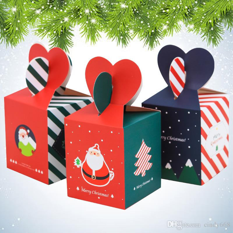 60 Pcs Christmas Gift Box Xmas Eve Fruit Packaging Paper Box DIY Carton Red Tripe Sweets Candy Box Party Craft Bags With Handles
