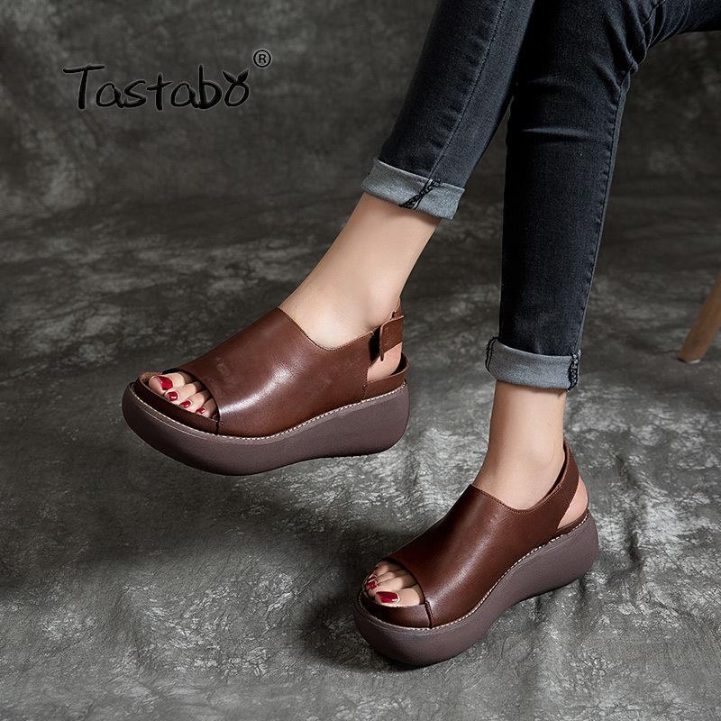 الأحذية Tastabo السيدات جلدية حقيقية الصنادل سميكة القاع الانزلاق على تصميم براون الأخضر نمط عارضة S183-2 اليدوية النسائية 35-40 CX200612