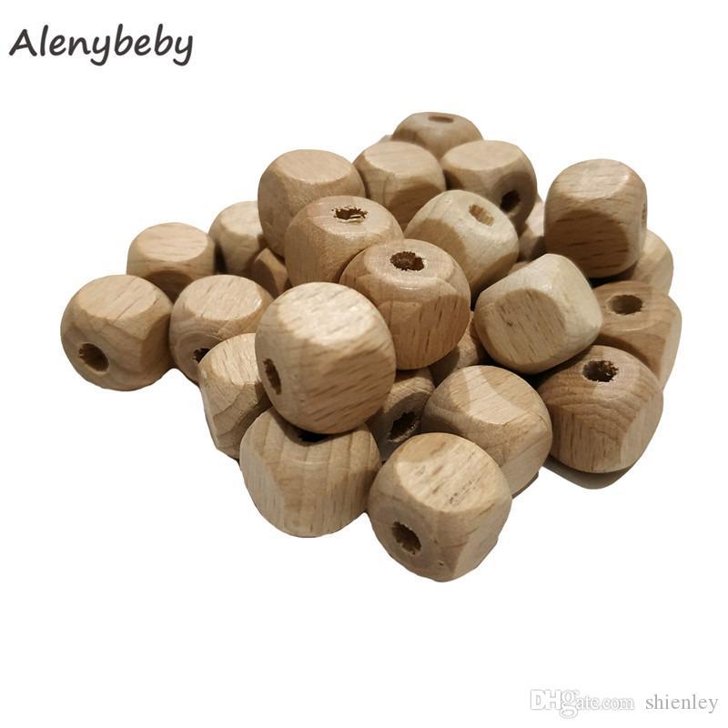Wood Beech Teething Hexagon Beads Baby Jewelry DIY Chewable Necklace Teether