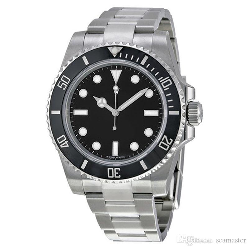 글라이드 버클 남성용 시계에는 날짜 40MM의 SUB 블랙 자동 기계 Stanless 스틸 패션 스포츠 셀프 바람 시계 손목 시계 다이얼 없습니다