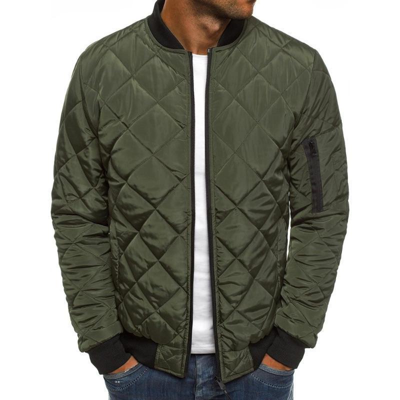 Мужская набивка бомбер куртка мужская Осень Зима Алмаз стеганая ватник ветрозащитная верхняя одежда пальто пилот