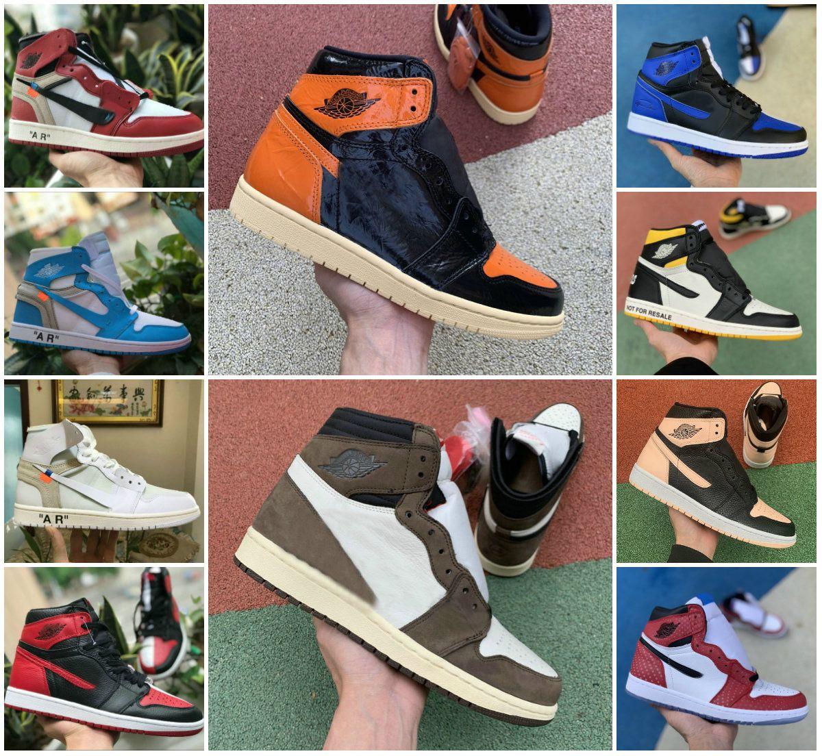 2020 Travis Scotts X High 1 OG AYAKKABI TURBO YEŞİL hayat hikayemin GS Yasaklı NRG X Birliği Retroes 1s Fragment Unc Beyaz Mavi SPOR Casual Sneaker