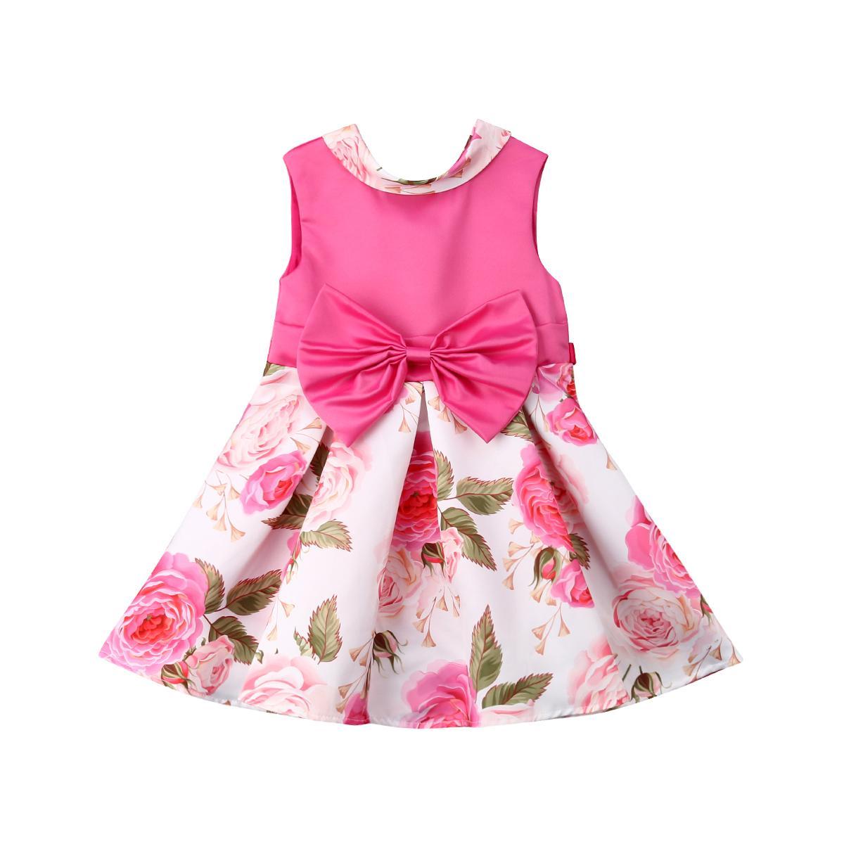 2019 nouvelle robe de fille enfant en bas âge robe de princesse bébé grand arc fête florale robe de mariée enfants tutu doux vêtements