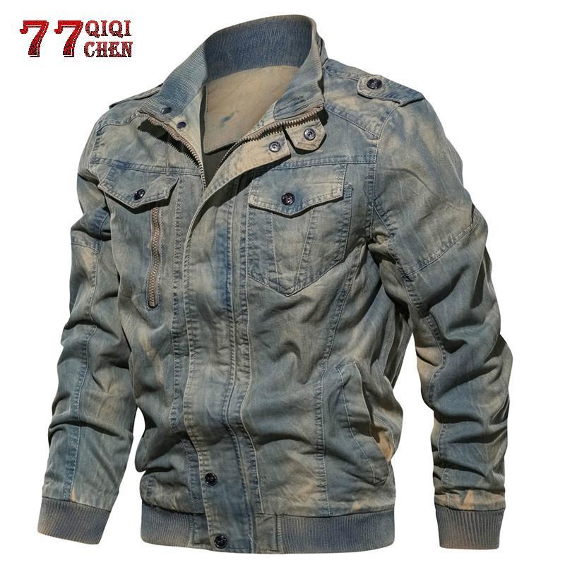 New 2019 Tactical Jackets Men Plus Size 6XL Army Cargo Denim Jeans Jackets Coats Jaqueta Masculina Solid Bomber Coat