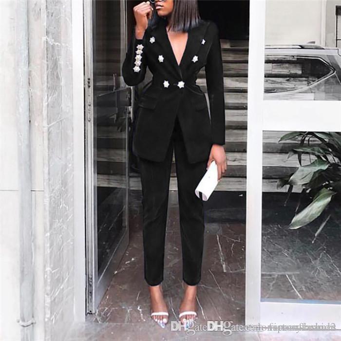 Casual de las señoras chaqueta de color sólido traje traje de dos piezas Slim Fit doble de pecho largas chaquetas de manga