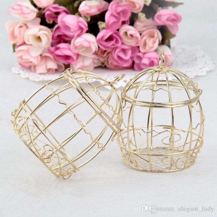 Boîte de faveur de mariage européenne créative or Matel Boxes romantique en fer forgé cage à oiseaux mariage bonbons boîte boîte de conserve en gros Faveurs de mariage