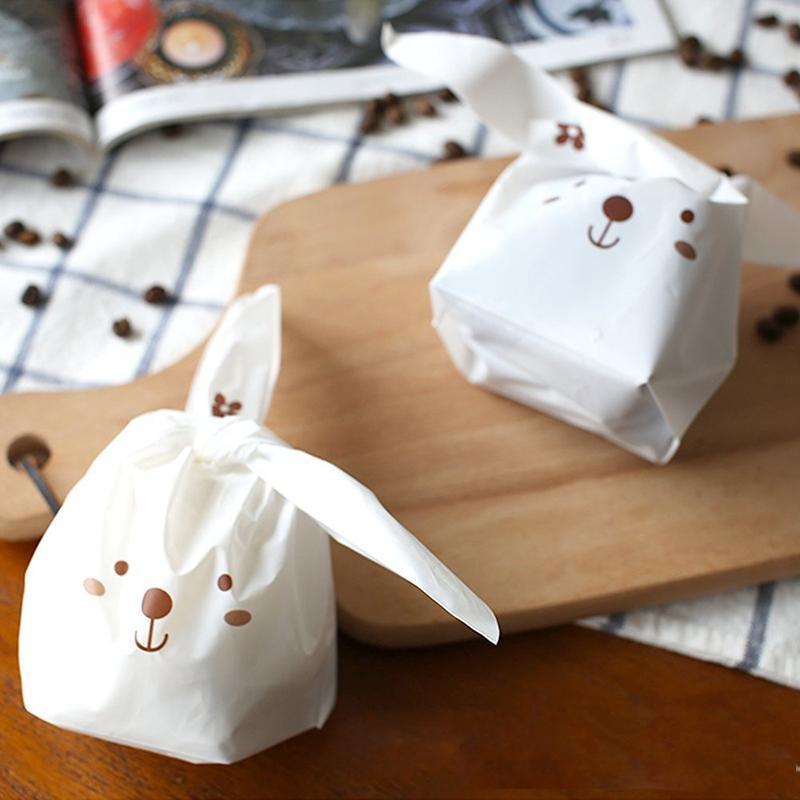 14x23cm Coceca 100 PC-Häschen Beuter Geschenk-Verpackungs-Beutel für Partei-Bevorzugungen Zubehör Kaninchen-Ohr-Taschen mit Twist Krawatten für Valentinstag Weihnachten