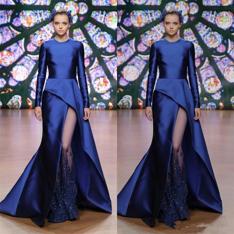 Celebrity 2020 robe de bal bleu marine robes de soirée manches longues Abendkleider engagement sirène formelle vestido de novia