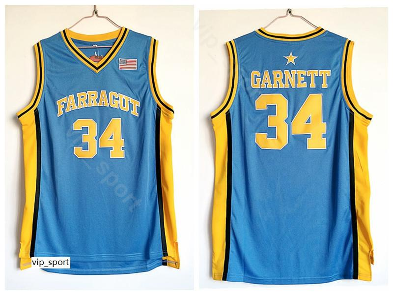 High School Kevin Garnett Jersey 34 Men Blue Basketball Farragut Jersey Sale Breathable Pure Cotton For Sport Fans Top Quality On Sale