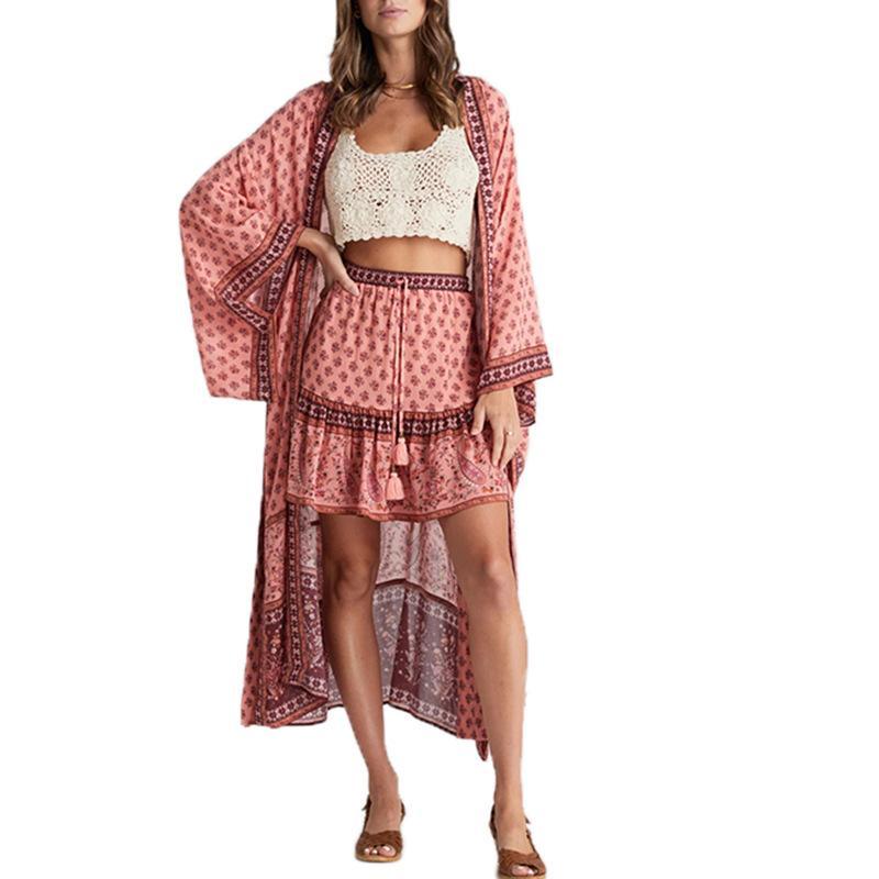 Boho Bohemian Stampa a strisce Pink Summer Beach Beach Indossare lungo Kimono Donne Costume da bagno Cover Up Plus Size Bikini Cover Up Sarong Plage