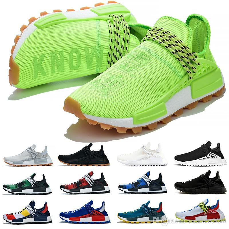 Cheap NMD Human Race Running Shoes Hombres Mujeres Pharrell Williams HU Runner Amarillo Negro Blanco Rojo Verde Gris Azul Deporte Sneaker Talla 36-47