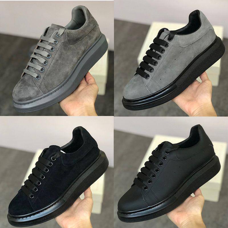 جديد الجلد المدبوغ مصمم منصة حذاء رياضة رجل إمرأة منصة المدربين 100٪ جلد الغزال رمادي أخضر أسود أزياء الدانتيل متابعة الأحذية حجم كبير