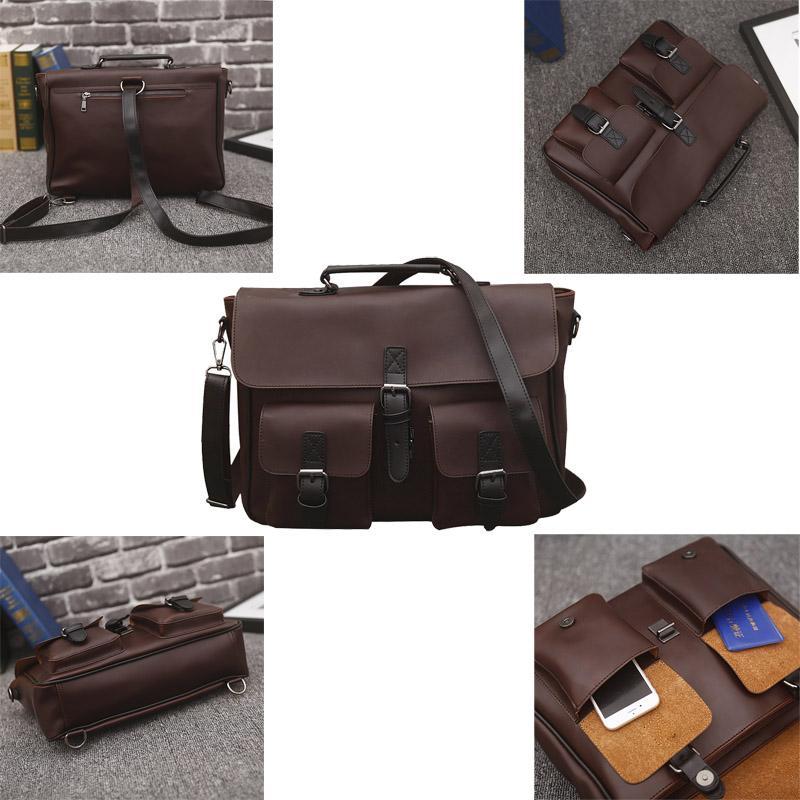 Gran portátil bolsas de viaje de negocios los hombres de piel Maletín mensajero del bolso de hombro del bolso masculino de la vendimia de los hombres de