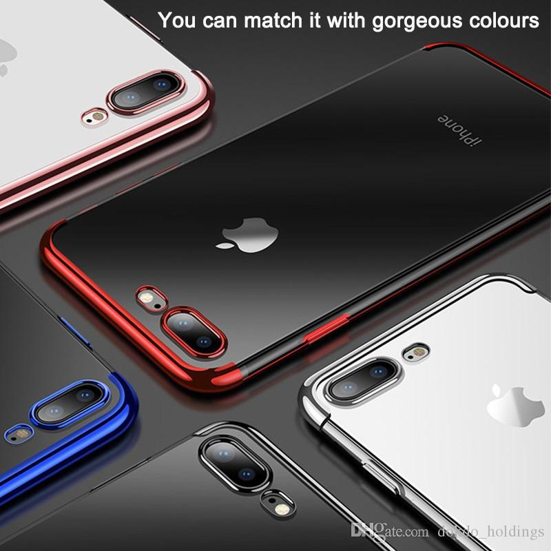 DOKDO Plating Clear Silicone backcover for iPhone XS Max XR Transparent Soft TPU cover for Apple 6S 7 8 Plus Mobile Phone case
