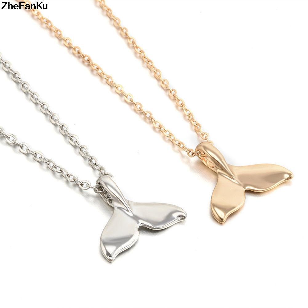 الأزياء قلادة قلادة مجوهرات خمر بسيط الحوت ذيل السمكة دولفين الذيل سحر قلادة قلادة سلسلة لانثى الرجال بيجو